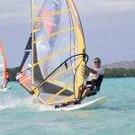 Wind surfing at Lac Bay